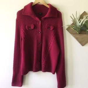 Talbots   Merino Wool Knit Button up Sweater XL